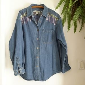 Eddie Bauer heavy weight denim shirt, women's Lg.